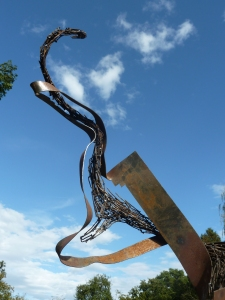 Swarm of fish sculpture